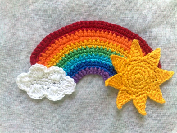 Rainbow Application with Sun and Cloud of crocheted Patch