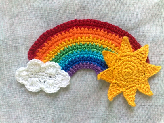 Rainbow Application with Sun and cloud crocheted patch