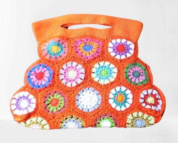 Granny Square crochet bag, shoulder bag, cute bag brown cotton, green crochet bag, carrier bag granny square