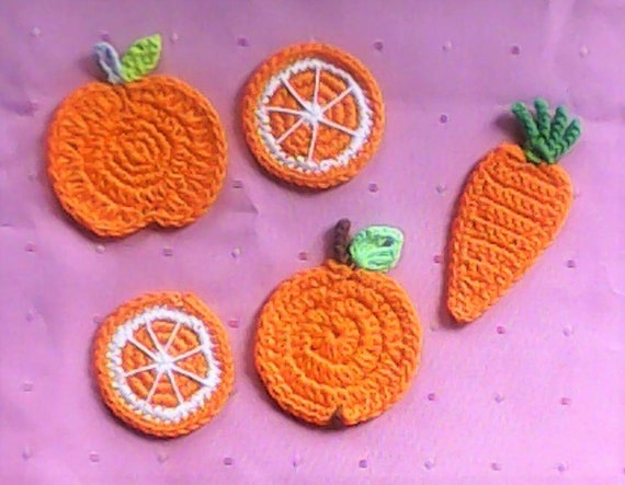 Orange crochet Fruit Appliqués crocheted Carrot Crochet Orange slice orange sewing Accessories Scrapbook Carrot orange Fabric Lace fruit