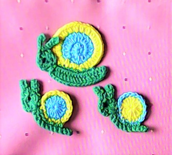 Crocheted applient application snail crochet application patch closer applications crochet crochet snail