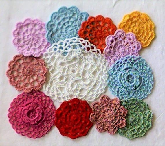 12 Piece Set by Hand crocheted Lid Coasters dream catcher, Weddings, tea party Medallions 7.5 cm to 14 cm