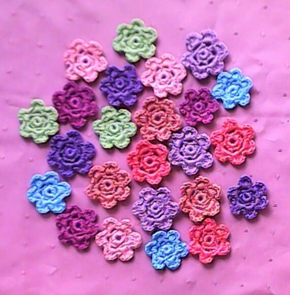 24 small Crochet Flowers, colorful Flowers, crocheted