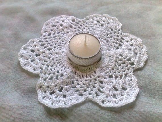 Thanksgiving Tea Candle Holder in white crochet
