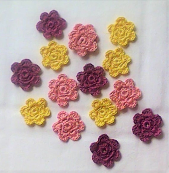 Crochet Flowers patch Up in pale yellow, cerise and pink