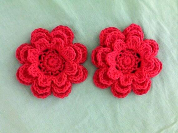 Crochet floral set of 2 applications 3-inch embellishment