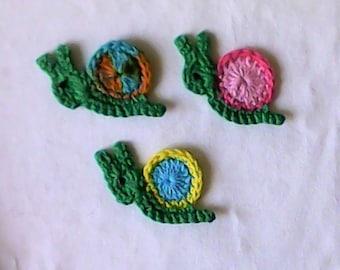 1 small snail-application-patch – crochet application