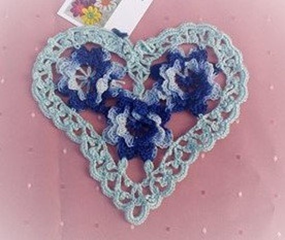 "Crochet cover applications, Blue heart cover, 6 ""Wedding table cover, farmhouse chic, country house, clothing applications, filigree"