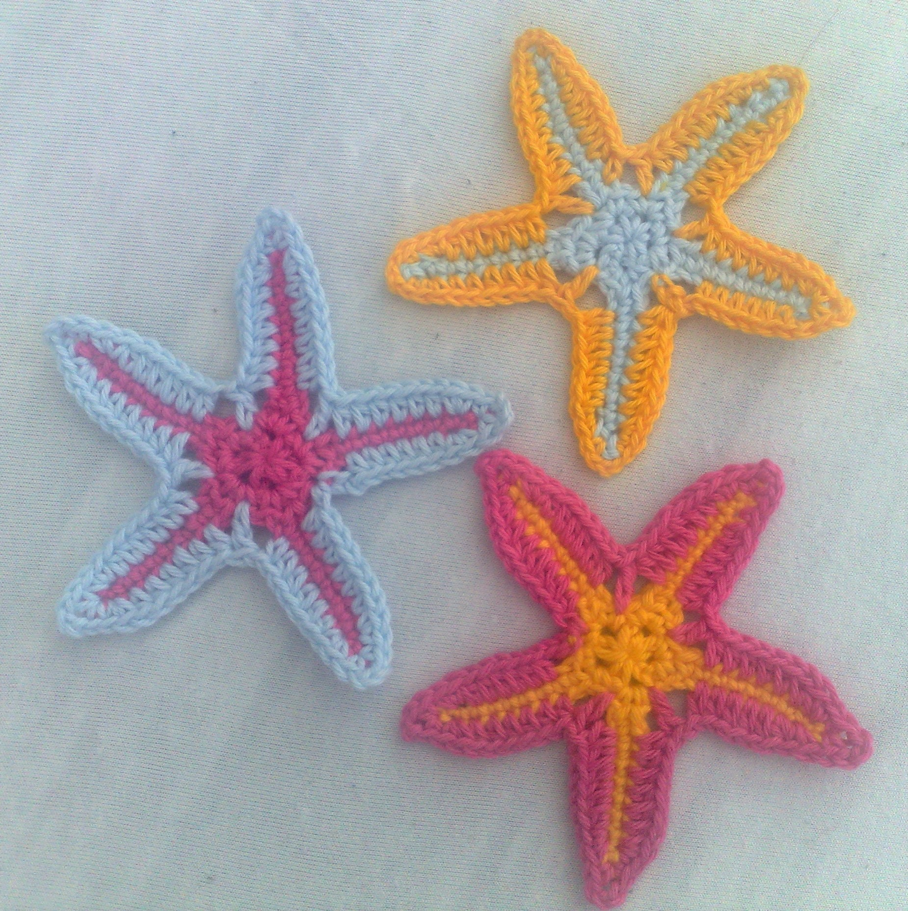3 Starfish Crocheted Patches And Sewing Accessories For The Summer