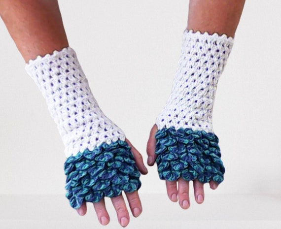 Dragon Scale Fingerless Gloves Arm warmer natural white turquoise dark blue women gift crochet