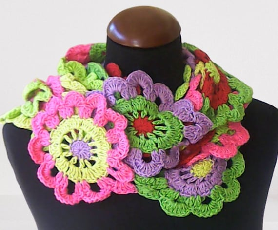 Very long scarf in hippie style, crocheted Granny Square, colorful crochet scarf, lasso crochet, narrow scarf, boho