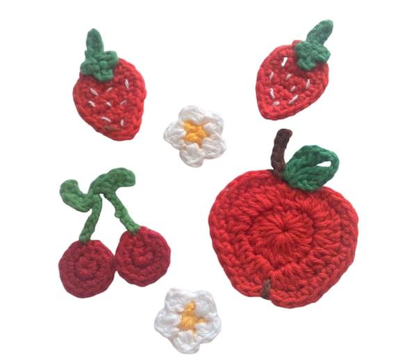 6 crochet appliques, handmade crochet patches in set strawberries apple flowers and cherries crochet