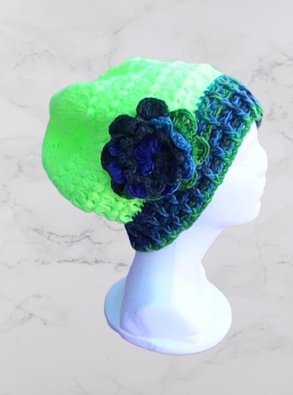 Oversized winter cap very large crochet cap warm winter cap crocheted neon green crocheted cap with large flower