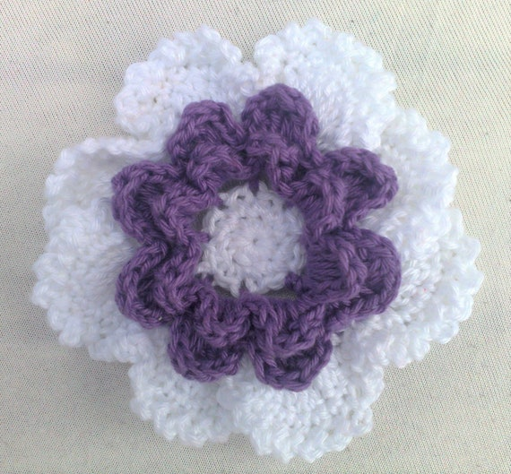Crocheted Flower white and purple 3.5 inch large flower motif layers flower