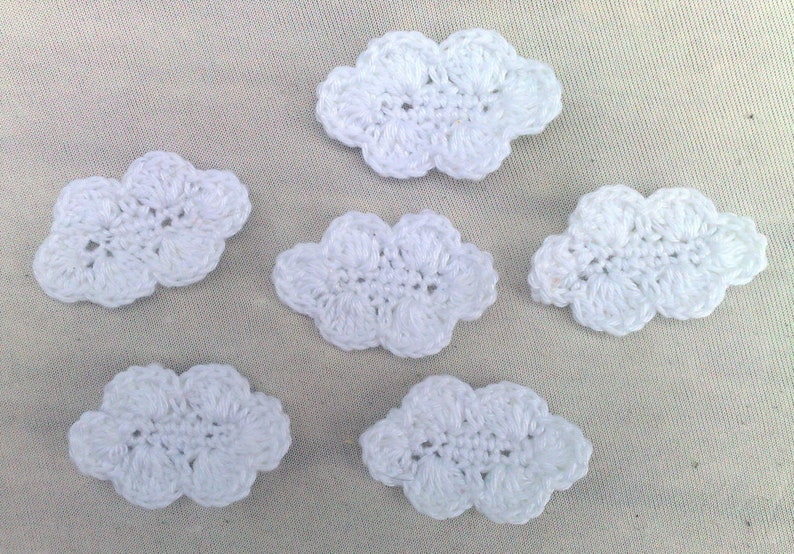 6 pieces of white clouds closer for children's clothes and image 0