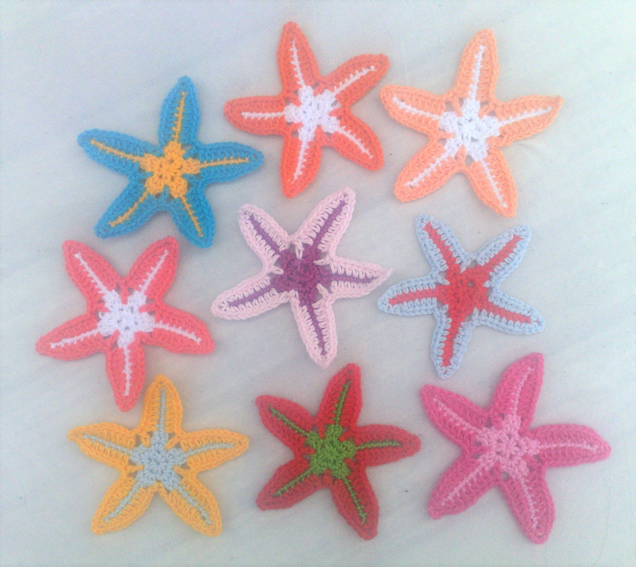 Crochet Colorful Starfish Application 9 Pieces Of Maritime