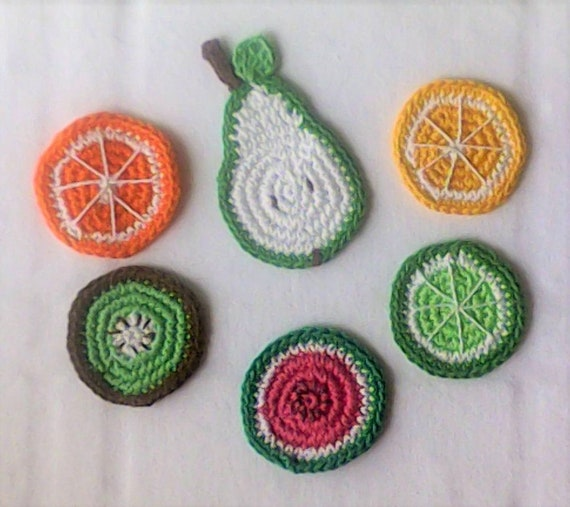 Crocheted Summer Fruit Coasters crocheted Slices of various Fruit Fruit Appliqués Ciphelsine Kiwi lemon Lime Watermelon