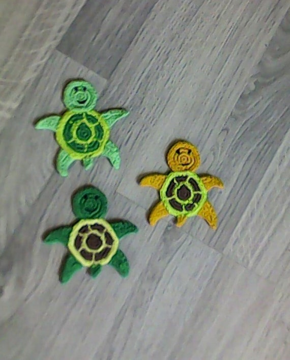 Crochet Turtle Applique, Turtle Embellishment, Turtle Motif, Sea Animal Applique