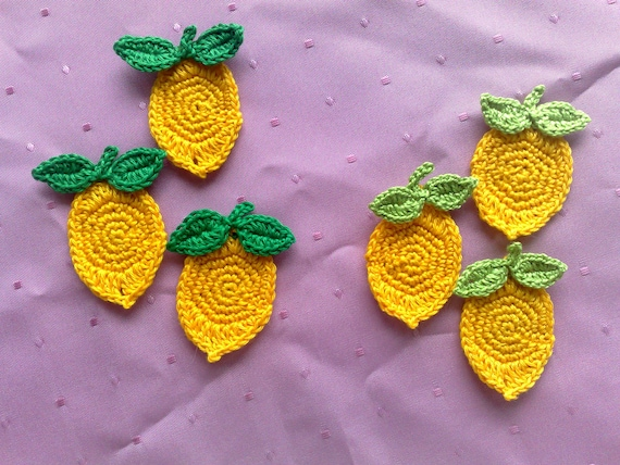 9 pieces in set lemons crocheted applique in yellow, false food fruit crochet