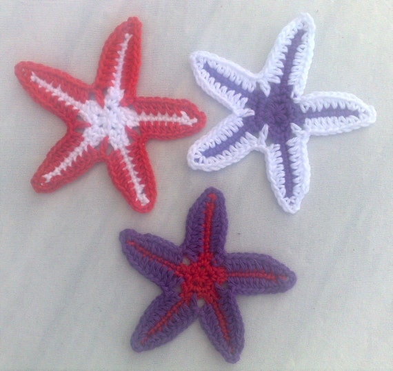 3 crochet starfish applique, wedding décor in colors white, purple and red