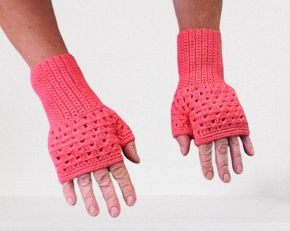 Crochet fingerless gloves apricot, women winter autumn accessories, crochet women short gloves, gift for her, birthday gift