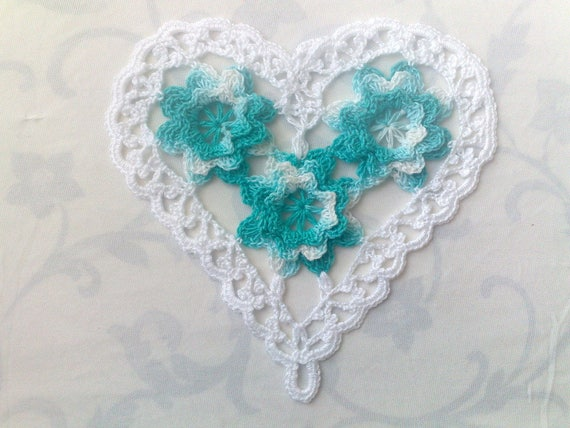 Mother's Day gift Valentine heart with crochet flowers