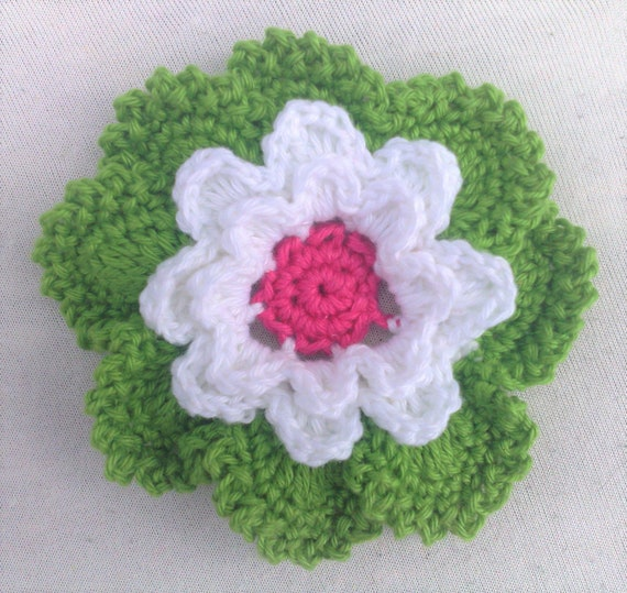 Crochet flower motif 3.5 inches in shades of green white and pink for spring