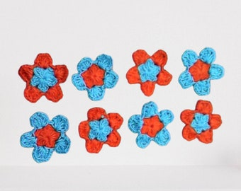 Crochet Set of 8 Flowers Application Crochet Motif Small Flowers Colorful Flower Ornaments in Turquoise and Orange