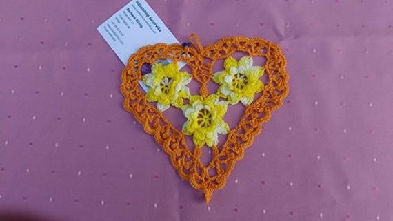 Thanksgiving Crochet Heart Cover with Yellow 3D Crochet Flowers