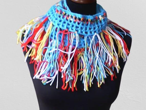 "Boho long scarf, crochet lariat necklace, spring fringe necklace, long wrap scarf with fringe length 106"""
