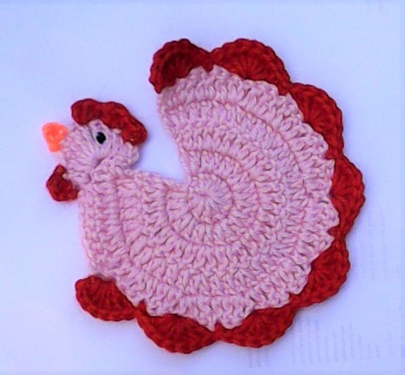 Mother's Day gift crochet chicken rooster beer lid kitchen décor pink animal coasters inauguration party gift