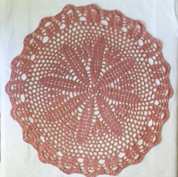 Lace Ceiling crocheted, 47 cm, mauve old pink, Handmade