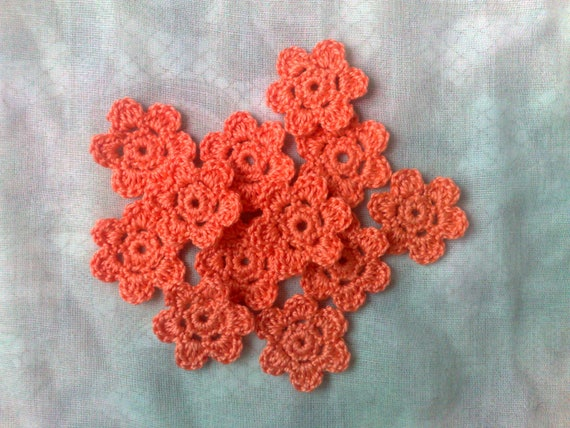 Orange crochet flowers, 12 pieces of crocheted floral applications