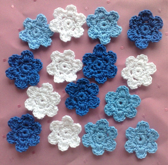Crocheted Flower appliques in white, dark blue and light blue cotton for sewing and scrapbooking