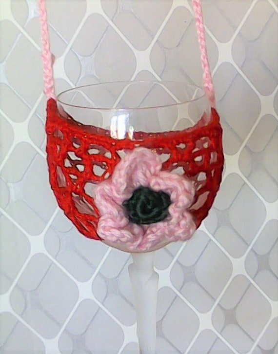 Mother's Day gift wine glass holder in red with pink crochet flower