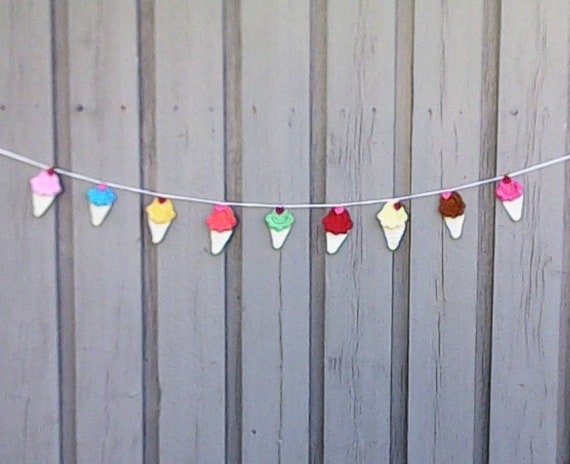 Garland Crochet Ice Cream, Bunting Party Decoration, Nursery Decor, Wall Hanging, Handmade Gift, Nursery Decoration