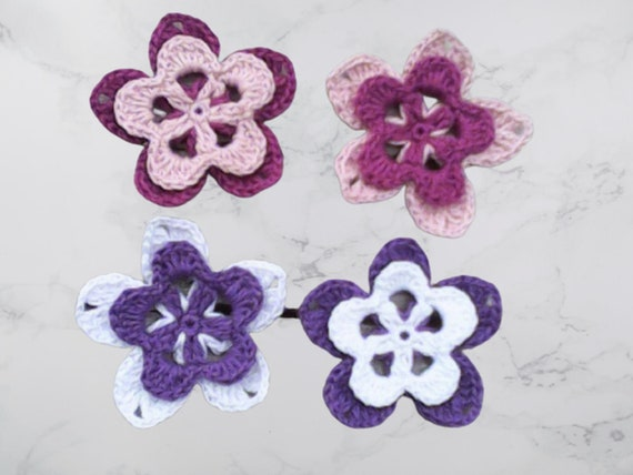Crochet Flowers 3D Layers,Crocheted Cotton Flowers,Set of 4 Flowers,Pink and Purple Flowers,Floral Decorations,Cotton Flowers,Pink Floral Motifs,6.5 cm