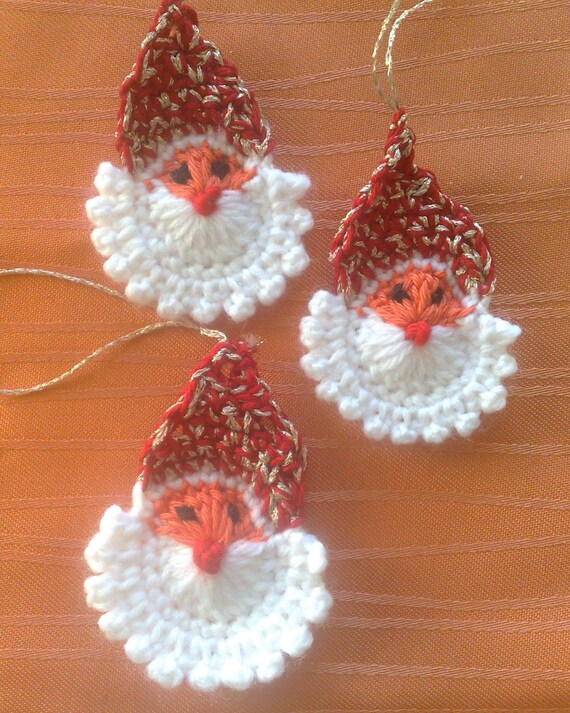 3 pieces crocheted Santa Claus application Christmas tree decorations, crochet Santa Claus face, crochet Christmas ornament handmade