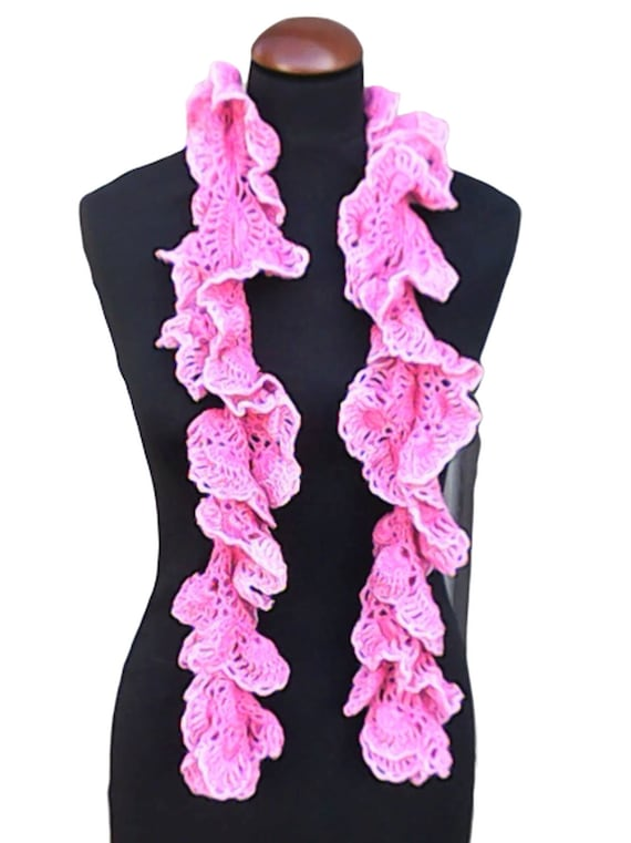Summer scarf ruffle crochet scarf pink crochet long necklace fashionable accessory length 55""