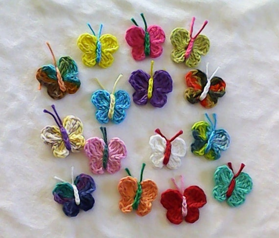 Applications of 15 crocheted colorful butterflies small embellishments for sewing