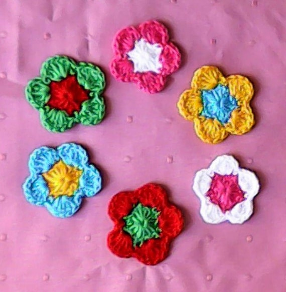 Crochet Flower Application, Crochet Flower, Scrapbooking, Crochet, crafting, large Flowers, Embellishments, Colorful crocheted flowers
