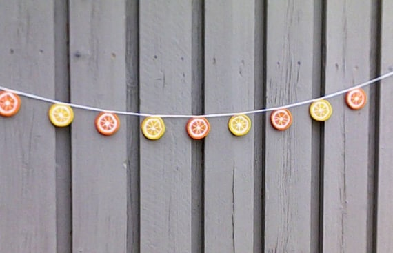 Citrus fruit cigroe and lemon crochet, garland, crochet bunting, summer party decoration, wall hanging home décor, kitchen food décor