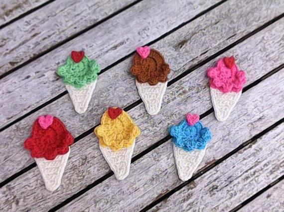 Ice cream, ice cream, ice cream crocheted, crochet applique, applique, patch, accessories, crochet application, wrong food