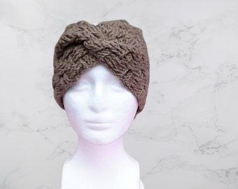 Crochet work headband brown knit headband brown head wrap crochet brown headband brown ear warmer brown headband handmade