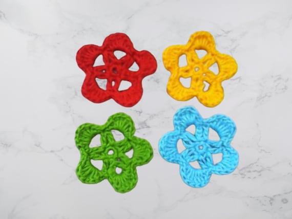 Crochet flowers, crochet cotton flowers, set of 4 flowers, colorful flowers, floral decoration, cotton flowers, blue floral motifs, 5 cm