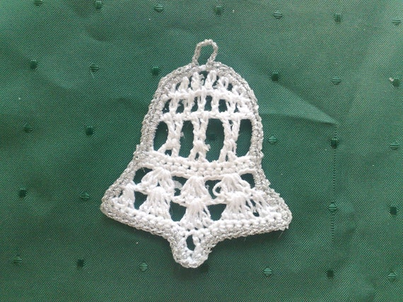 Crochet bells tree hanging in white and silver