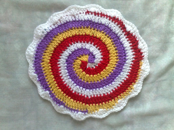 Crochet pot flaps, two-layer thick and spiral