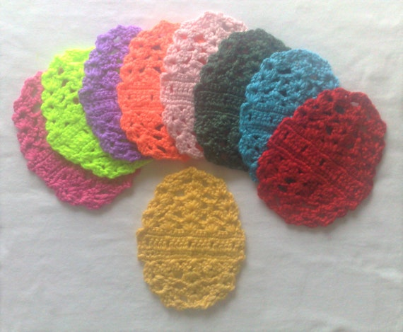 Easter egg coasters crocheted in pastel colours for a beautiful Easter decorations, covers for the Easter table, beer lids and glass coasters