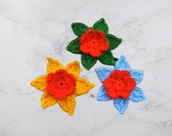Crochet flowers, crochet cotton flowers, 3 colorful flowers, set of 3 flowers, floral decoration, cotton flowers, floral motifs, 6 cm