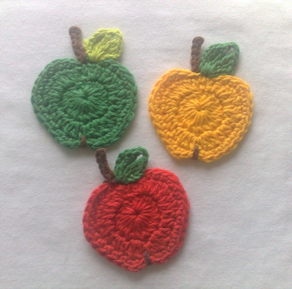 Crochet apple appliqués set of 3 handmade apple fruit in red, yellow and green